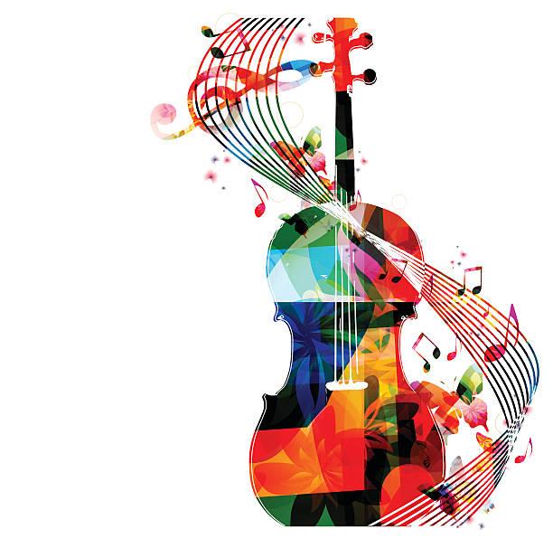 kolorowe violoncello z muzyka notatki - harmonia instrument stock illustrations