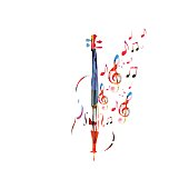 Colorful violoncello with music notes