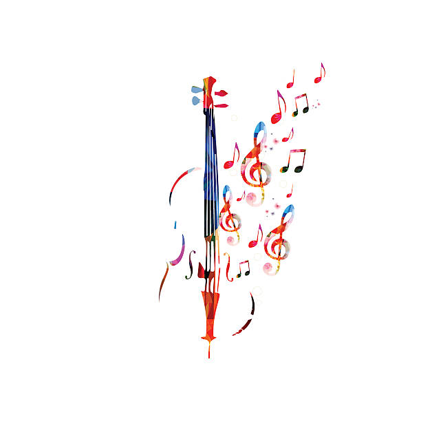 bildbanksillustrationer, clip art samt tecknat material och ikoner med colorful violoncello with music notes - violin
