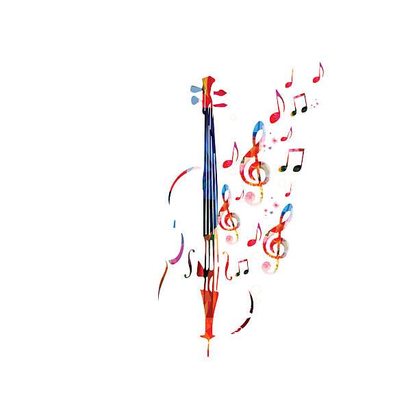 stockillustraties, clipart, cartoons en iconen met colorful violoncello with music notes - viool