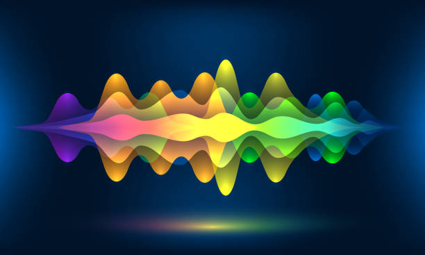 colorful voice waves or motion sound frequency. abstract soundtrack energy background or music color visualization vector illustration - rytm stock illustrations