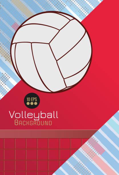 stockillustraties, clipart, cartoons en iconen met kleurrijke volleybal kunst op dynamische bg met lege ruimte - netball