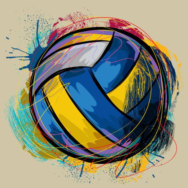 Colorido de voleibol - ilustración de arte vectorial