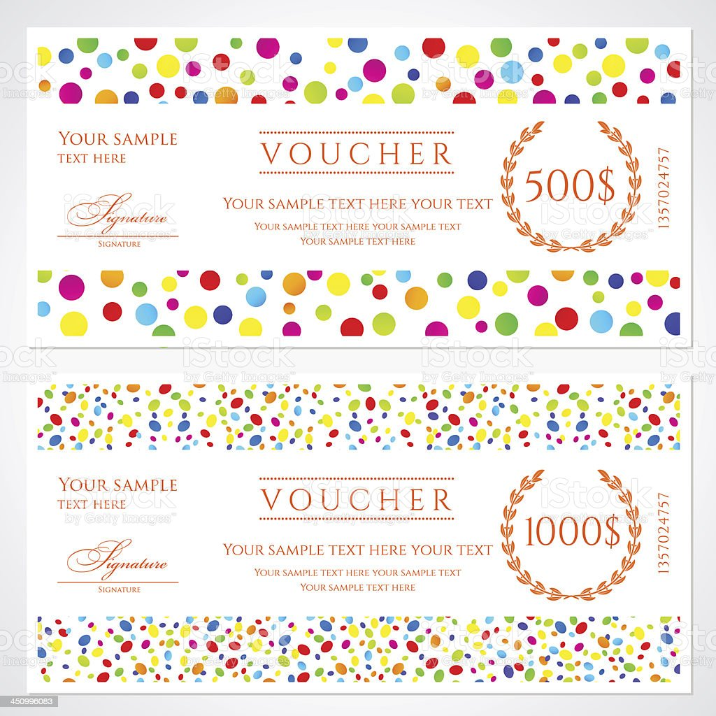 Colorful Voucher / Gift Certificate / Coupon Template Banknote, Money,  Currency, Cheque)  Coupon Sample Template