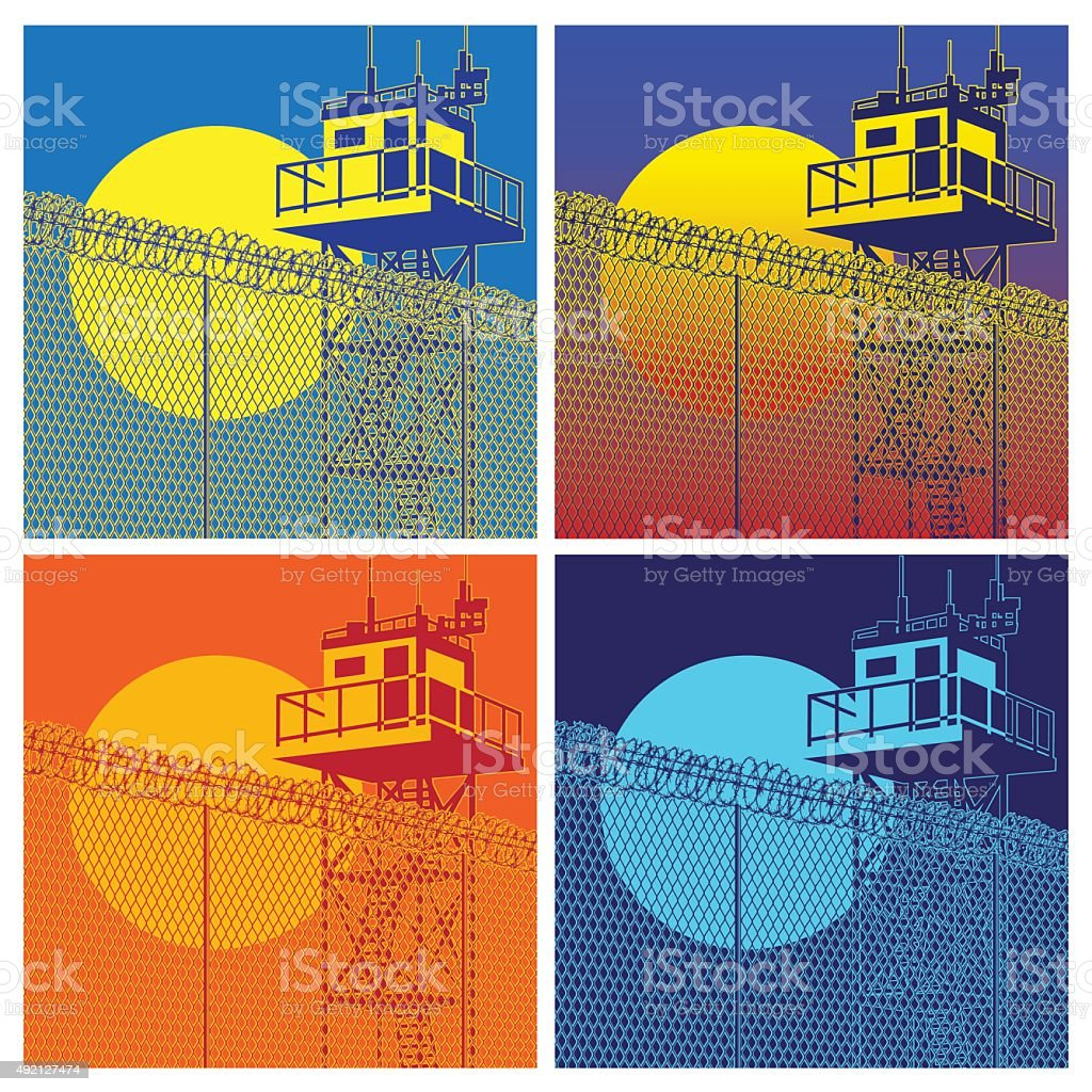 colorful watchtower vector art illustration