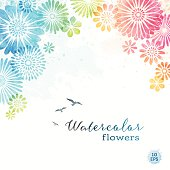 Multi colored watercolor floral frame with splatters and textures.EPS 10 file contains transparencies.File is layered with global colors.Only gradients used.Hi res jpeg without text included.More works like this linked below.http://www.myimagelinks.com/Lightboxes/spring_files/shapeimage_2.png
