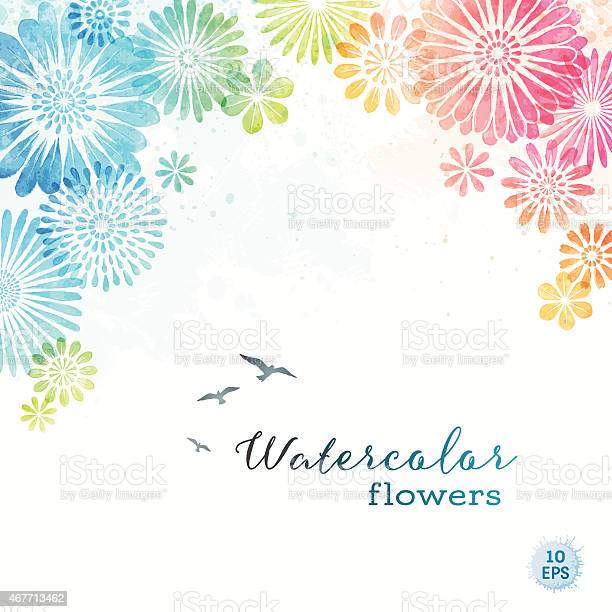 Colorful watercolor flowers vector id467713462?b=1&k=6&m=467713462&s=612x612&h=3gfo3ghs1exhtvnl78pp1pbv1haaohnqenyrpvpm9h4=