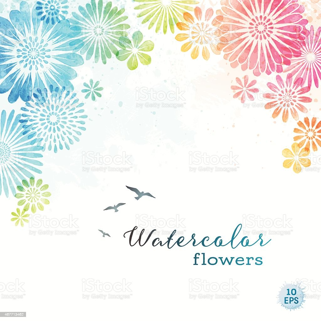 Colorful Watercolor Flowers vector art illustration