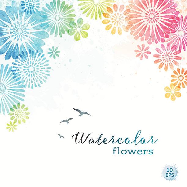 Flores acuarela colorido - ilustración de arte vectorial