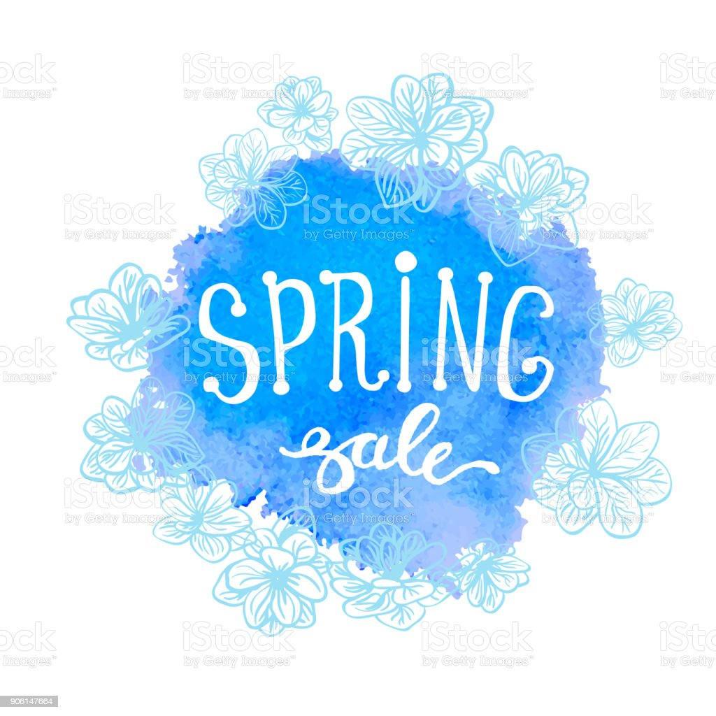 Colorful Watercolor Poster Spring Sale Stock Vector Art & More ...