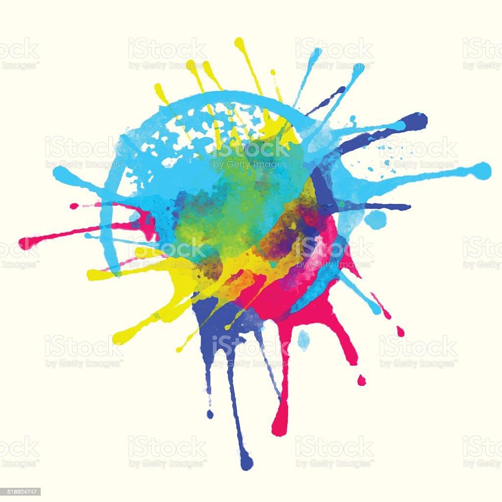 Colorful watercolor rainbow splash vector art illustration