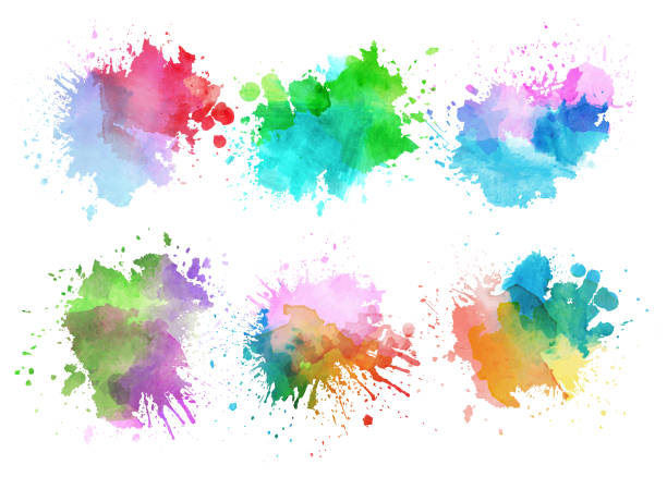 다채로운 수채화 많아요 벡터 아트 일러스트