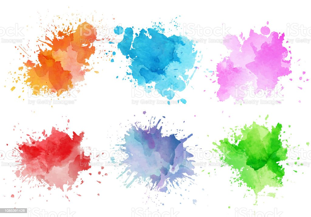 Colorful Watercolor Splashes Stock Illustration - Download ...
