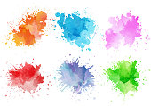 istock Colorful watercolor splashes 1085391426