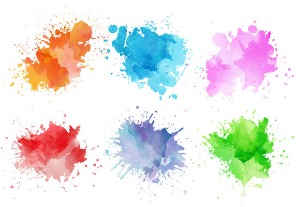 Colorful watercolor splashes Colorful watercolor splashes art stock illustrations