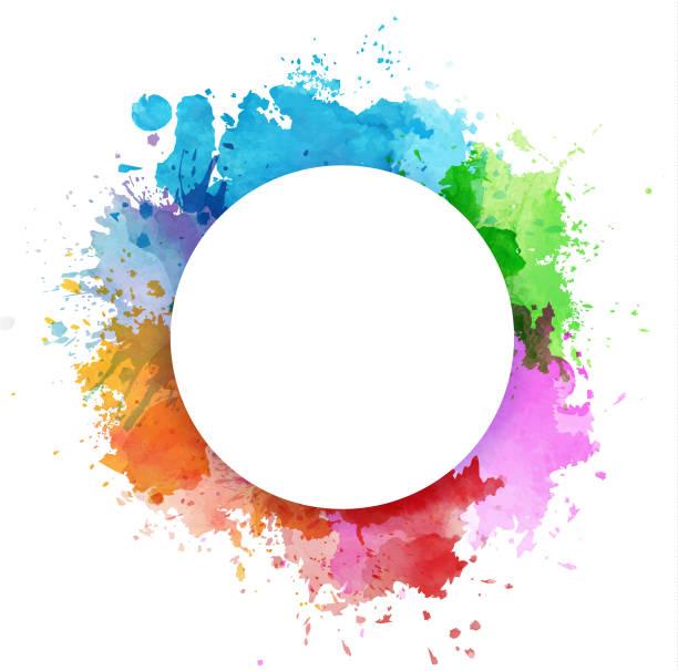 illustrazioni stock, clip art, cartoni animati e icone di tendenza di colorful watercolor splashes - colore descrittivo