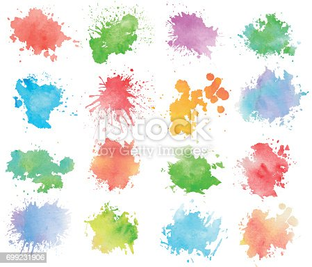 istock Colorful watercolor splashes 699231906