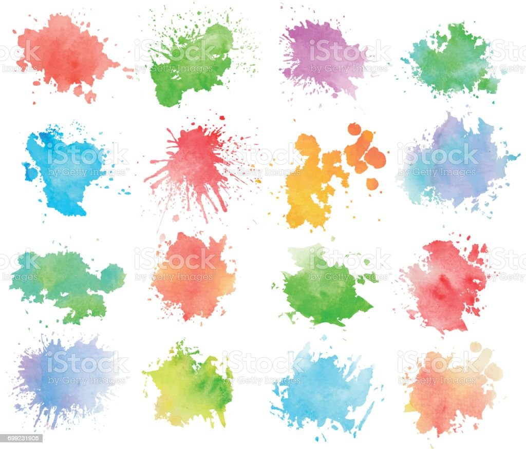 Colorful watercolor splashes vector art illustration