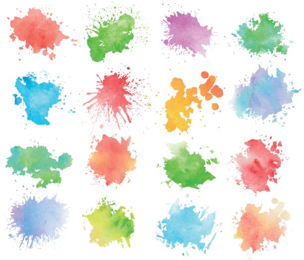 colorful watercolor splashes - farba stock illustrations