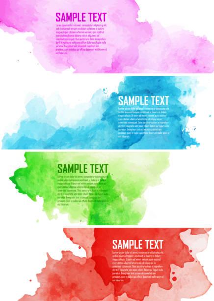 색상화 워터컬러 splashes - 수채화 물감 stock illustrations
