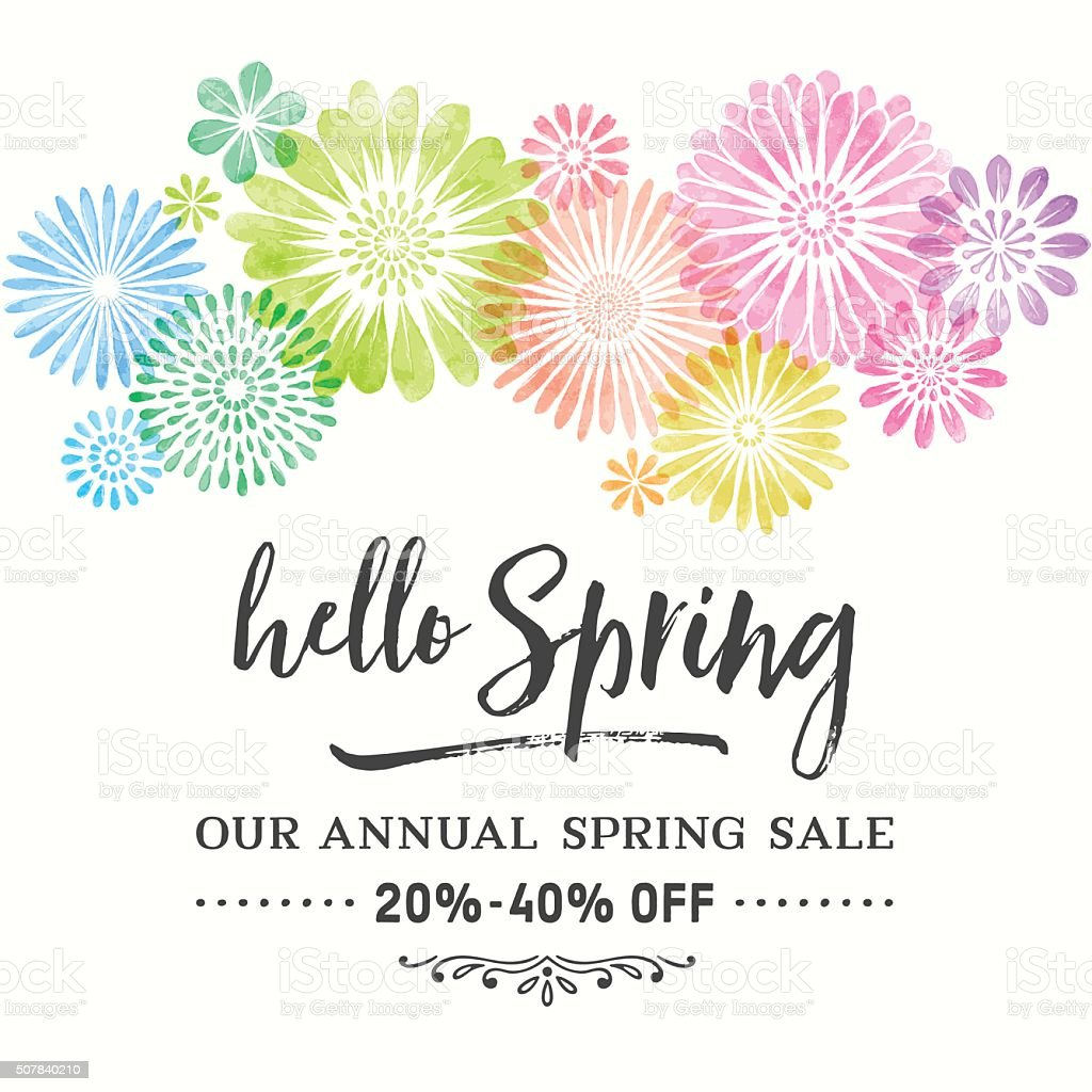 Colorful Watercolor Spring Flowers vector art illustration