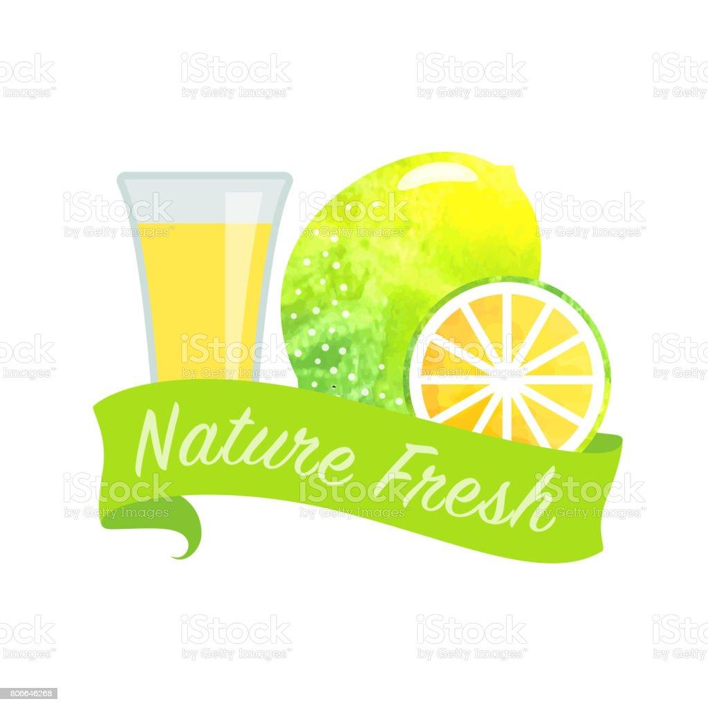 Renkli Sulu Boya Doku Vektör Doğa Organik Taze Meyve Suyu Afiş Limon