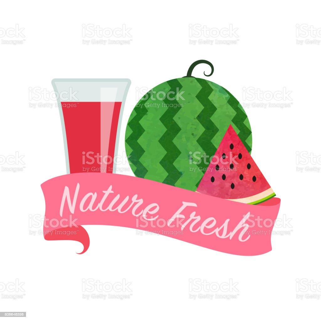 Afiş Kırmızı Karpuz Renkli Sulu Boya Doku Vektör Doğa Organik Taze