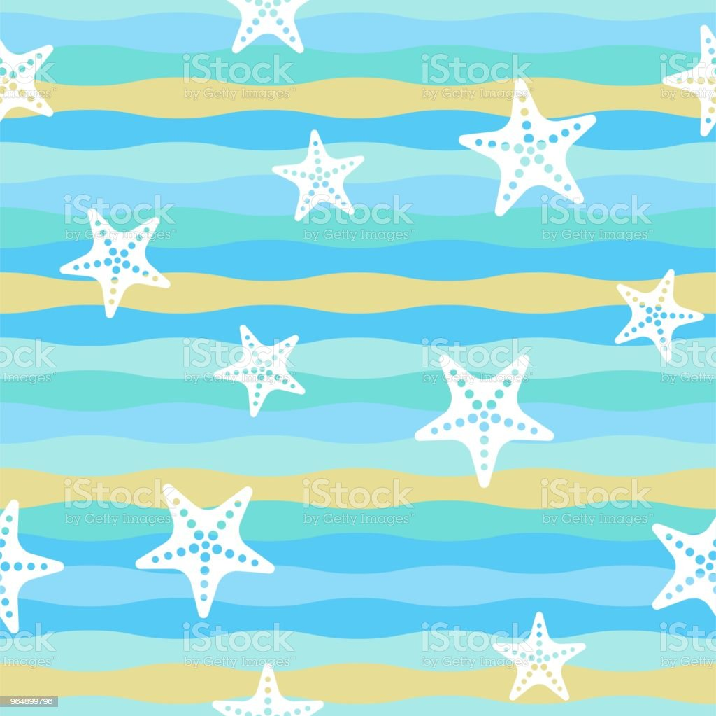 Colorful wave and starfish seamless pattern for summer theme royalty-free colorful wave and starfish seamless pattern for summer theme stock illustration - download image now