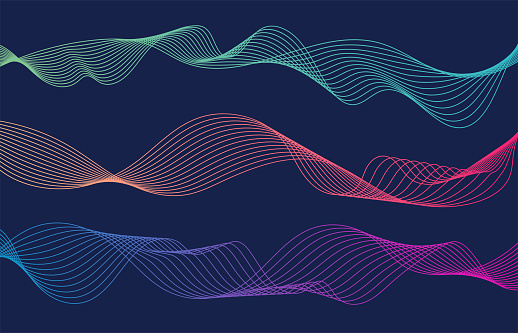 Colorful wave lines isolated blue background. Curved wavy line. Vector illustration