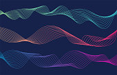 istock Colorful wave lines isolated blue background. Curved wavy line. Vector illustration 1212176757