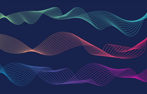 kolorowe linie fal izolowane niebieskie tło. zakrzywiona falista linia. ilustracja wektorowa - linia stock illustrations