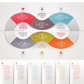 Infographics design template - abstract numbered color paper waves shape.