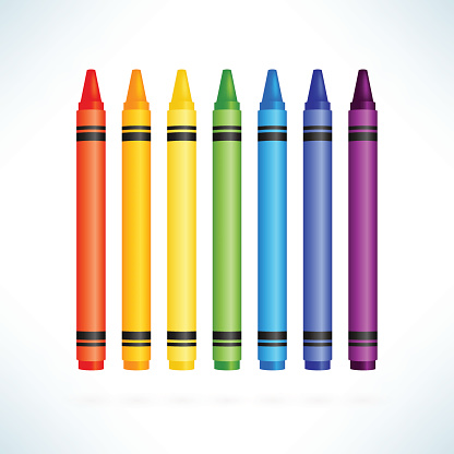 Colorful wax pencils collection. Isolated vector illustration in realism style