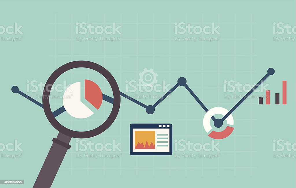 Colorful web analytics illustration vector art illustration