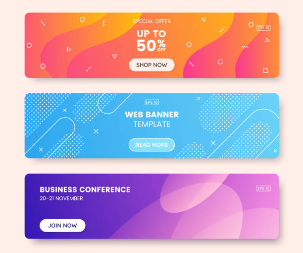 colorful web banner concept with push button. collection of horizontal promotion banners with gradient colors and abstract dynamic shapes. header design for website. vibrant background. - wzory i tła stock illustrations