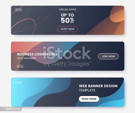 Colorful web banner with push button and dark backdrop. Collection of horizontal promotion banners with abstract liquid shapes. Header design. Coupon template. Vector eps 10