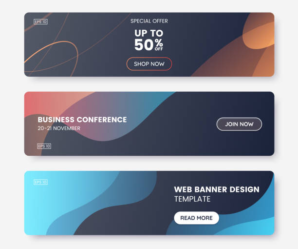 Colorful web banner with push button and dark backdrop. Collection of horizontal promotion banners with abstract liquid shapes. Header design. Coupon template. Vector eps 10 vector art illustration