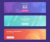 Colorful web banner with push button. Collection of horizontal promotion banners with gradient colors and abstract geometric backdrop.Header design. Vibrant coupon template. Vector eps 10