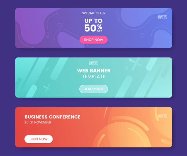 Colorful web banner with push button. Collection of horizontal promotion banners with gradient colors and abstract geometric backdrop.Header design. Vibrant coupon template. Vector eps 10 vector art illustration