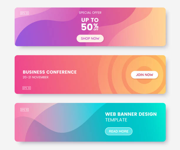 illustrazioni stock, clip art, cartoni animati e icone di tendenza di colorful web banner with push button. collection of horizontal promotion banners with pastel gradient colors and abstract geometric backdrop.header design. vibrant coupon template. vector eps 10 - vitalità