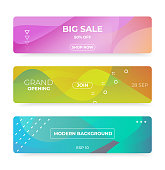 istock Colorful web banner with push button. Promotion banners with abstract liquid shapes. 1263429560