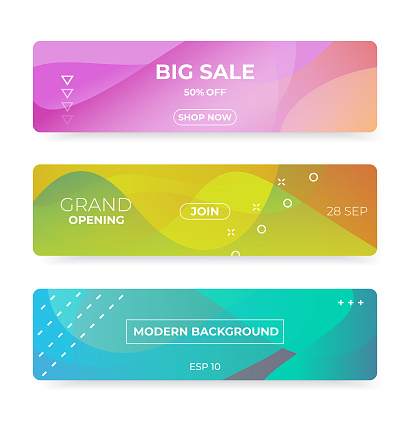 Colorful web banner with push button. Promotion banners with abstract liquid shapes.