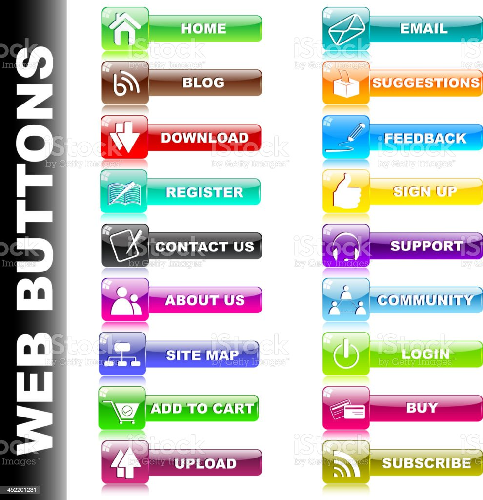 Colorful Web Button royalty-free stock vector art