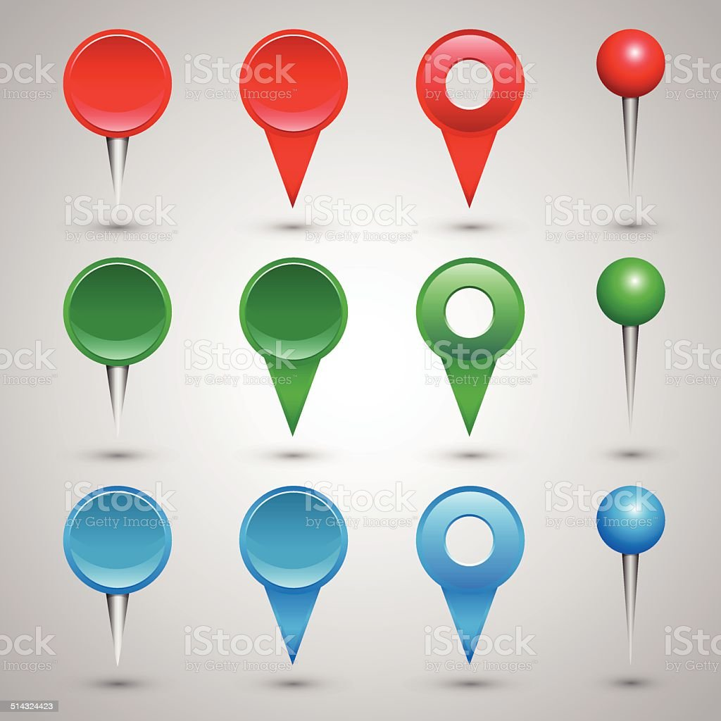 Colorful web buttons, checkboxes, pointers and office pins vector art illustration
