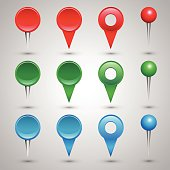 Colorful web buttons, checkboxes, pointers and office pins