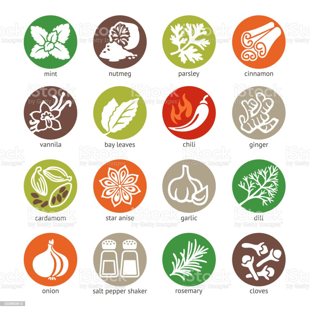 Colorful web icon set - spices, condiments and herbs vector art illustration