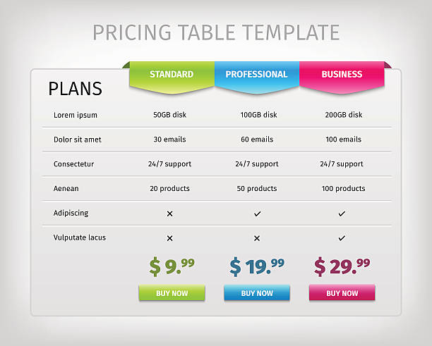 colorful web pricing table template for business plan - pricing infographics stock illustrations, clip art, cartoons, & icons