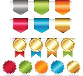 Colourful Web Ribbons Set. Vector Illustration EPS10. Contains transparency.