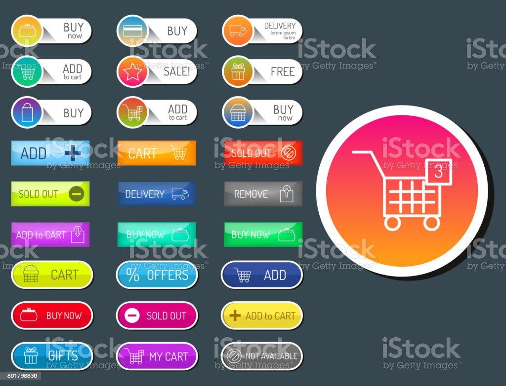 Ilustración de Colorida Página Web Tienda Online Web Botones Diseñar ...