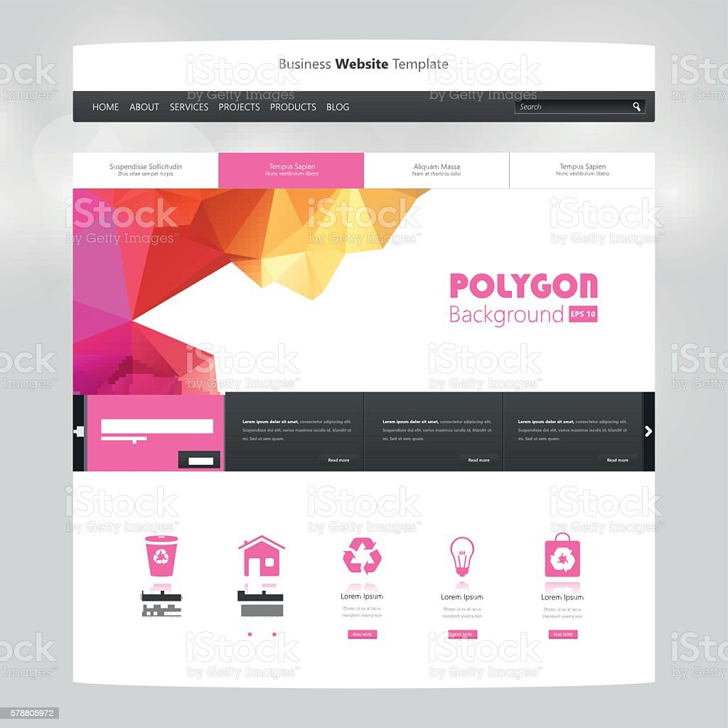 Colorful Website Template With Polygon Background Professional ...